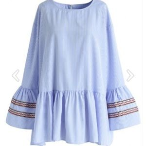 Chicwish Blue Stripe Leisure Top with Bell Sleeves